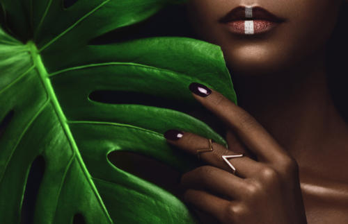 Greenery, Metals, Geometry Beauty Editorial